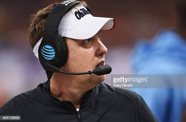Head coach Hugh Freeze of the Mississippi Rebels looks on during the third quarter against the Oklahoma State Cowboys of the Allstate Sugar Bowl at...