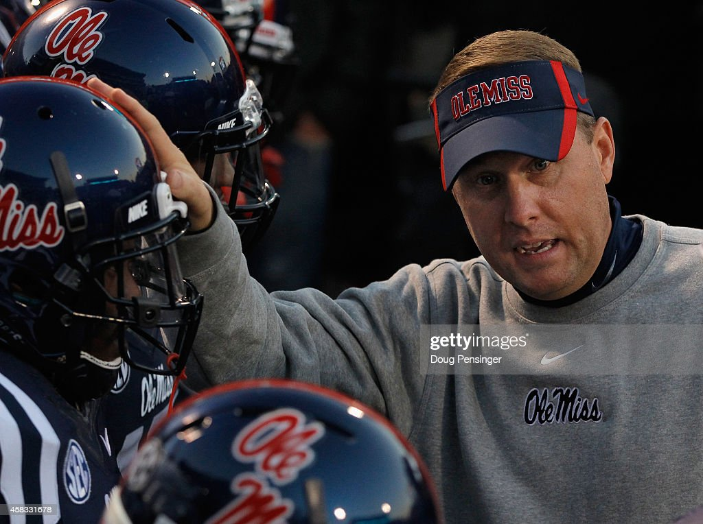 Head coach <a gi-track='captionPersonalityLinkClicked' href=/galleries/search?phrase=Hugh+Freeze&family=editorial&specificpeople=9725187 ng-click='$event.stopPropagation()'>Hugh Freeze</a> of the Mississippi Rebels prepares to lead his team against the Auburn Tigers at Vaught-Hemingway Stadium on November 1, 2014 in Oxford, Mississippi. Auburn defeated Mississippi 35-31.