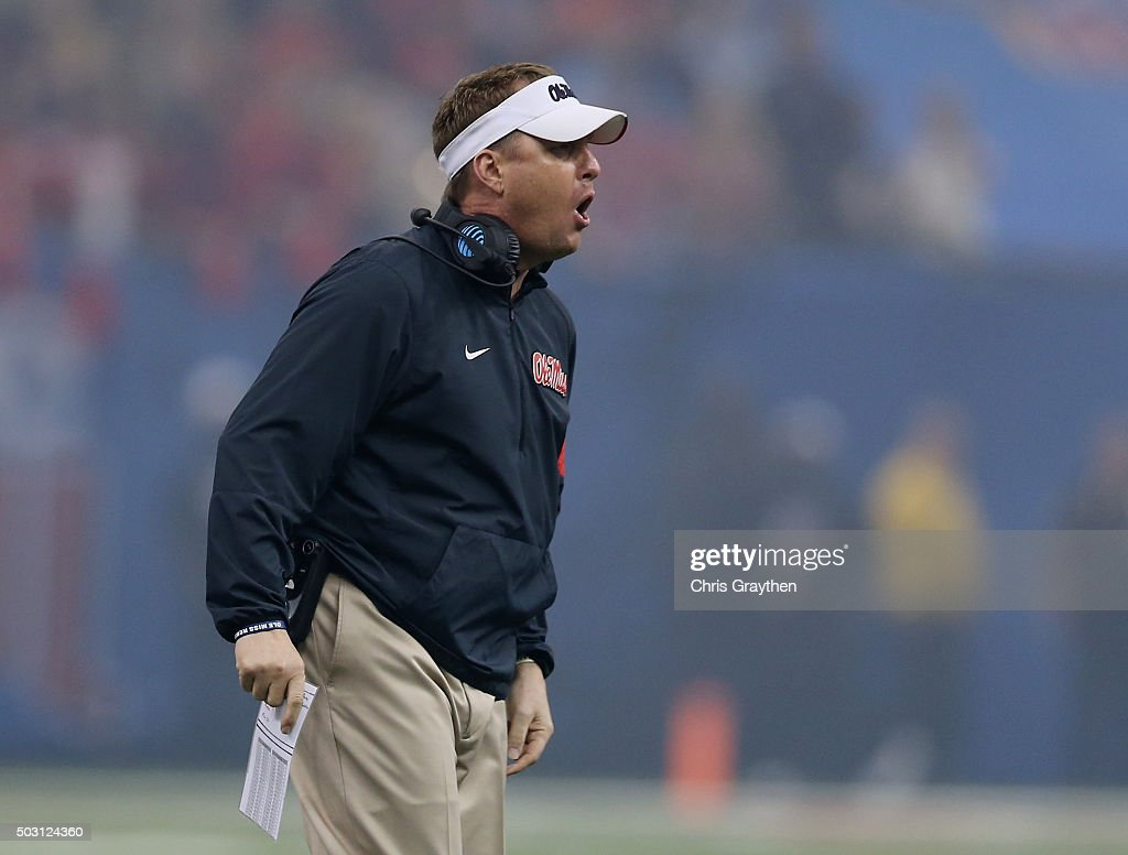 Head coach <a gi-track='captionPersonalityLinkClicked' href=/galleries/search?phrase=Hugh+Freeze&family=editorial&specificpeople=9725187 ng-click='$event.stopPropagation()'>Hugh Freeze</a> of the Mississippi Rebels reacts against the Oklahoma State Cowboys during the first quarter of the Allstate Sugar Bowl at Mercedes-Benz Superdome on January 1, 2016 in New Orleans, Louisiana.
