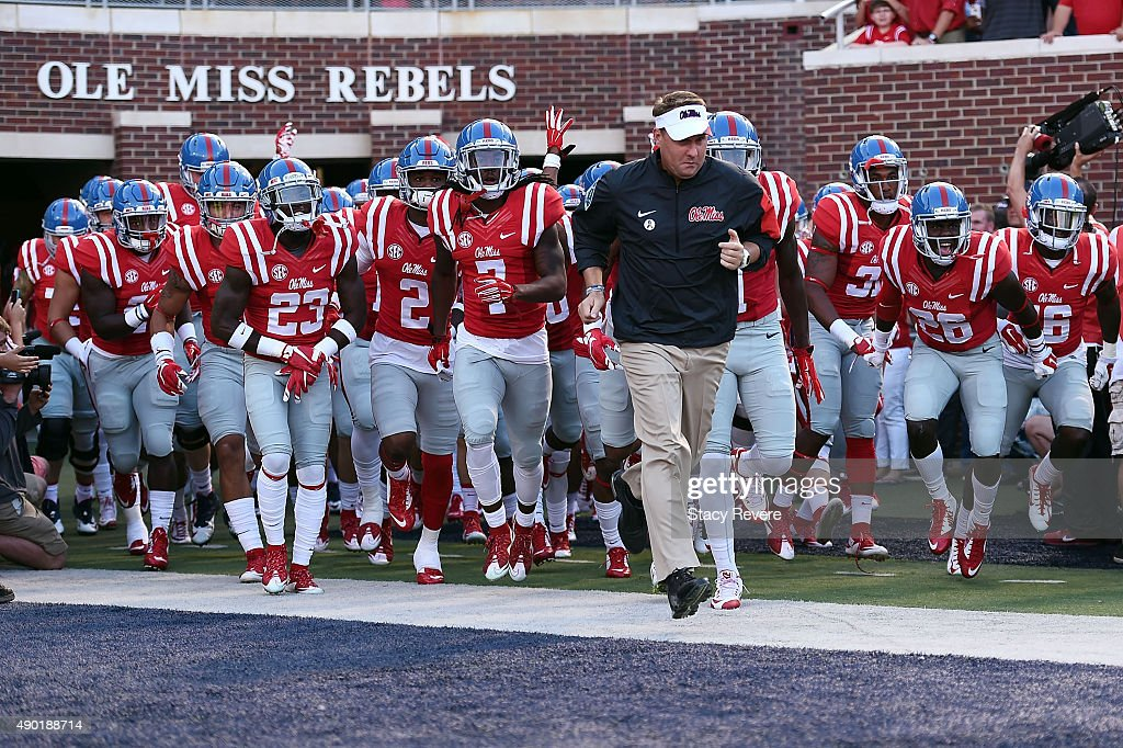 Head coach <a gi-track='captionPersonalityLinkClicked' href=/galleries/search?phrase=Hugh+Freeze&family=editorial&specificpeople=9725187 ng-click='$event.stopPropagation()'>Hugh Freeze</a> of the Mississippi Rebels takes the field with his team prior to a game against the Vanderbilt Commodores at Vaught-Hemingway Stadium on September 26, 2015 in Oxford, Mississippi.