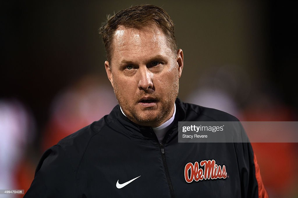 Head coach <a gi-track='captionPersonalityLinkClicked' href=/galleries/search?phrase=Hugh+Freeze&family=editorial&specificpeople=9725187 ng-click='$event.stopPropagation()'>Hugh Freeze</a> of the Mississippi Rebels watches action prior to a game against the Mississippi State Bulldogs at Davis Wade Stadium on November 28, 2015 in Starkville, Mississippi. Mississippi defeated Mississippi State 38-27.