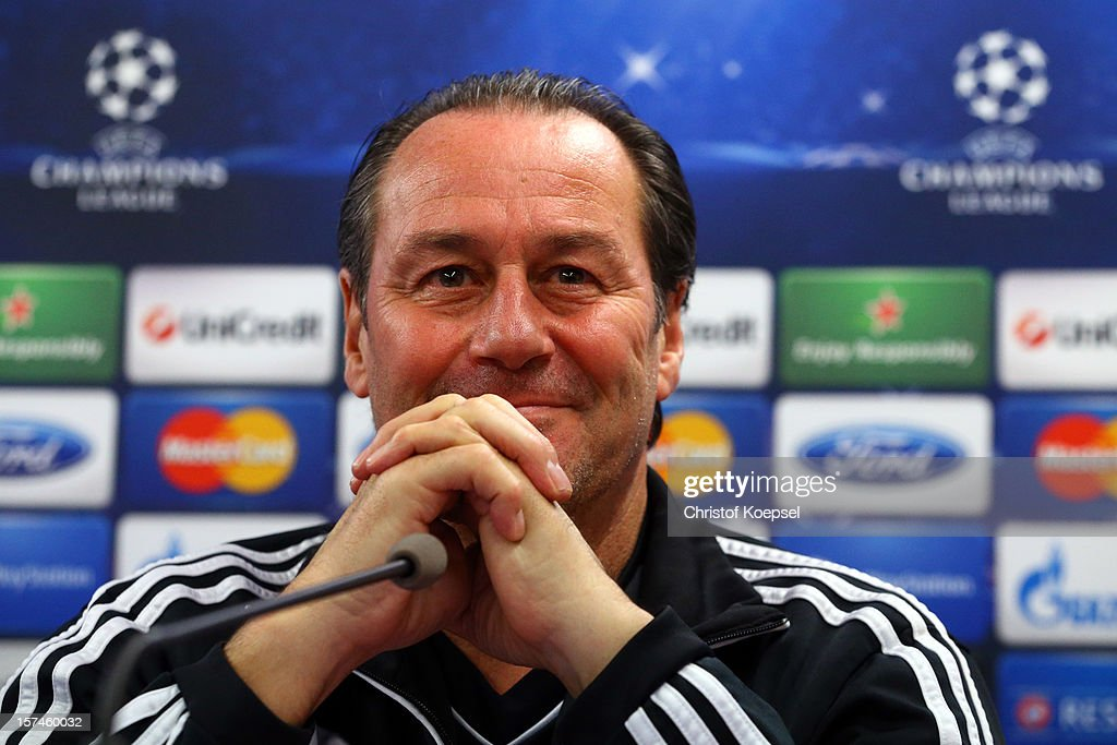 Head coach Huub Stevens attends the press conference of FC Schalke 04 at training ground of Montpellier ahead of the UEFA Champions League group B match between Montpellier Herault SC and FC Schalke 04 on December 3, 2012 in Montpellier, France.