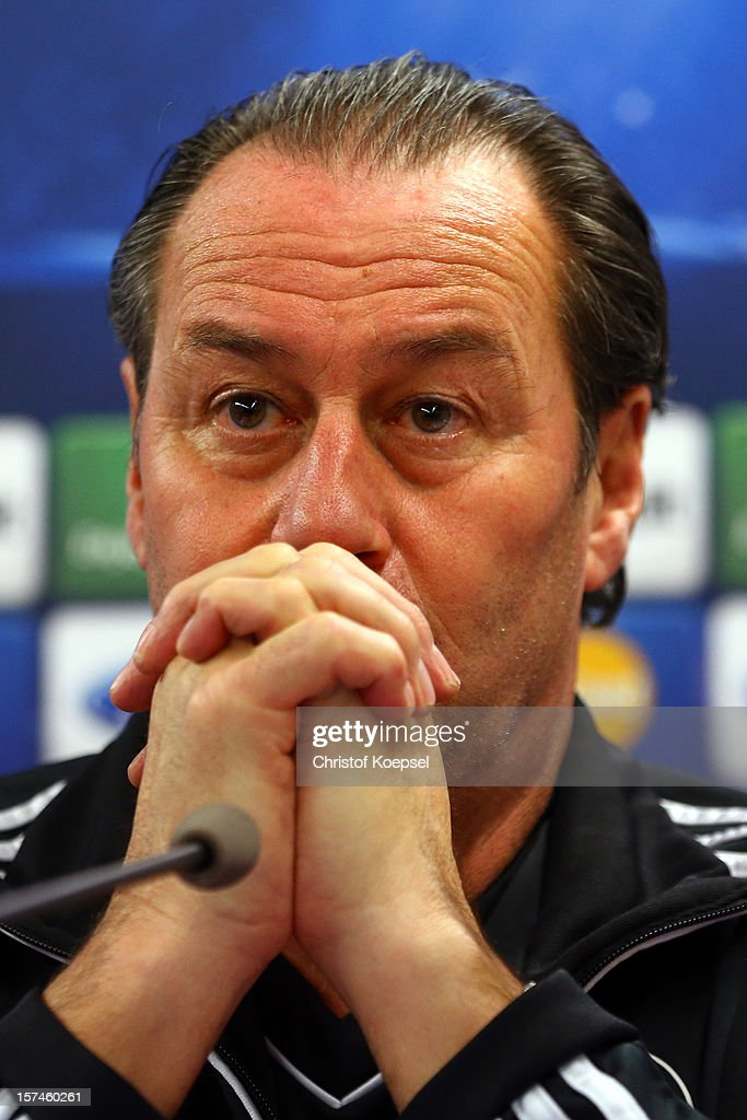 Head coach <a gi-track='captionPersonalityLinkClicked' href=/galleries/search?phrase=Huub+Stevens&family=editorial&specificpeople=2380209 ng-click='$event.stopPropagation()'>Huub Stevens</a> attends the press conference of FC Schalke 04 at training ground of Montpellier ahead of the UEFA Champions League group B match between Montpellier Herault SC and FC Schalke 04 on December 3, 2012 in Montpellier, France.