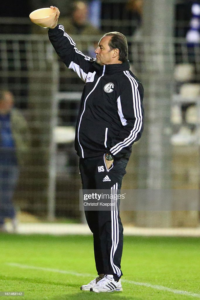 Head coach <a gi-track='captionPersonalityLinkClicked' href=/galleries/search?phrase=Huub+Stevens&family=editorial&specificpeople=2380209 ng-click='$event.stopPropagation()'>Huub Stevens</a> attends the training session of FC Schalke 04 at training ground of Montpellier ahead of the UEFA Champions League group B match between Montpellier Herault SC and FC Schalke 04 on December 3, 2012 in Montpellier, France.