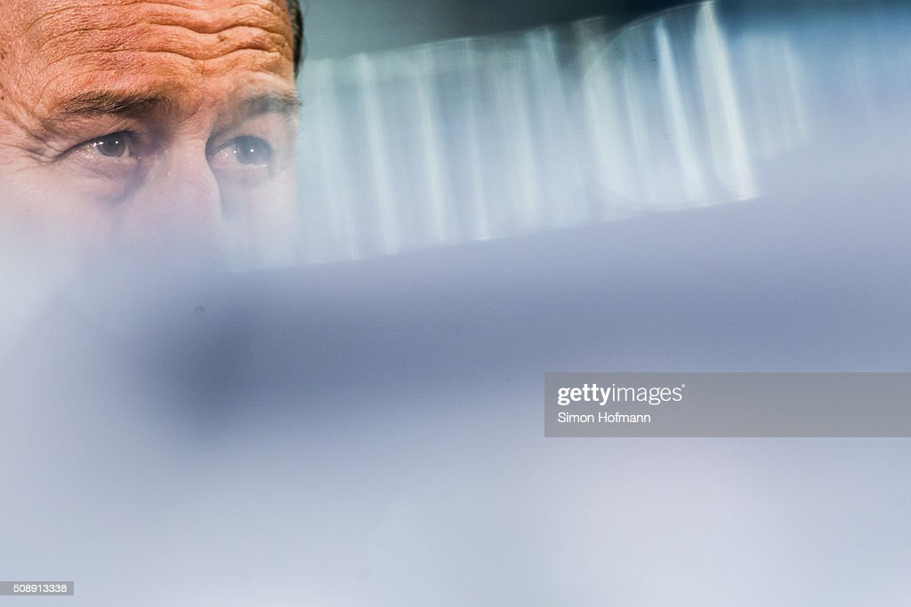 Head coach <a gi-track='captionPersonalityLinkClicked' href=/galleries/search?phrase=Huub+Stevens&family=editorial&specificpeople=2380209 ng-click='$event.stopPropagation()'>Huub Stevens</a> of Hoffenheim looks on prior to the Bundesliga match between 1899 Hoffenheim and SV Darmstadt 98 at Wirsol Rhein-Neckar-Arena on February 7, 2016 in Sinsheim, Germany.