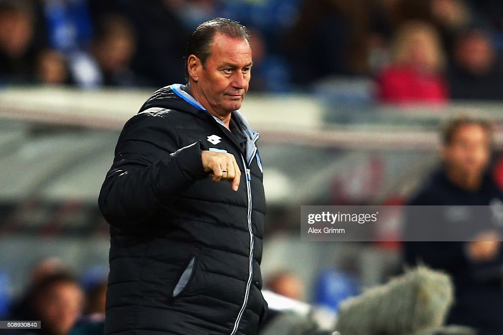 Head coach <a gi-track='captionPersonalityLinkClicked' href=/galleries/search?phrase=Huub+Stevens&family=editorial&specificpeople=2380209 ng-click='$event.stopPropagation()'>Huub Stevens</a> of Hoffenheim reacts during the Bundesliga match between 1899 Hoffenheim and SV Darmstadt 98 at Wirsol Rhein-Neckar-Arena on February 7, 2016 in Sinsheim, Germany.
