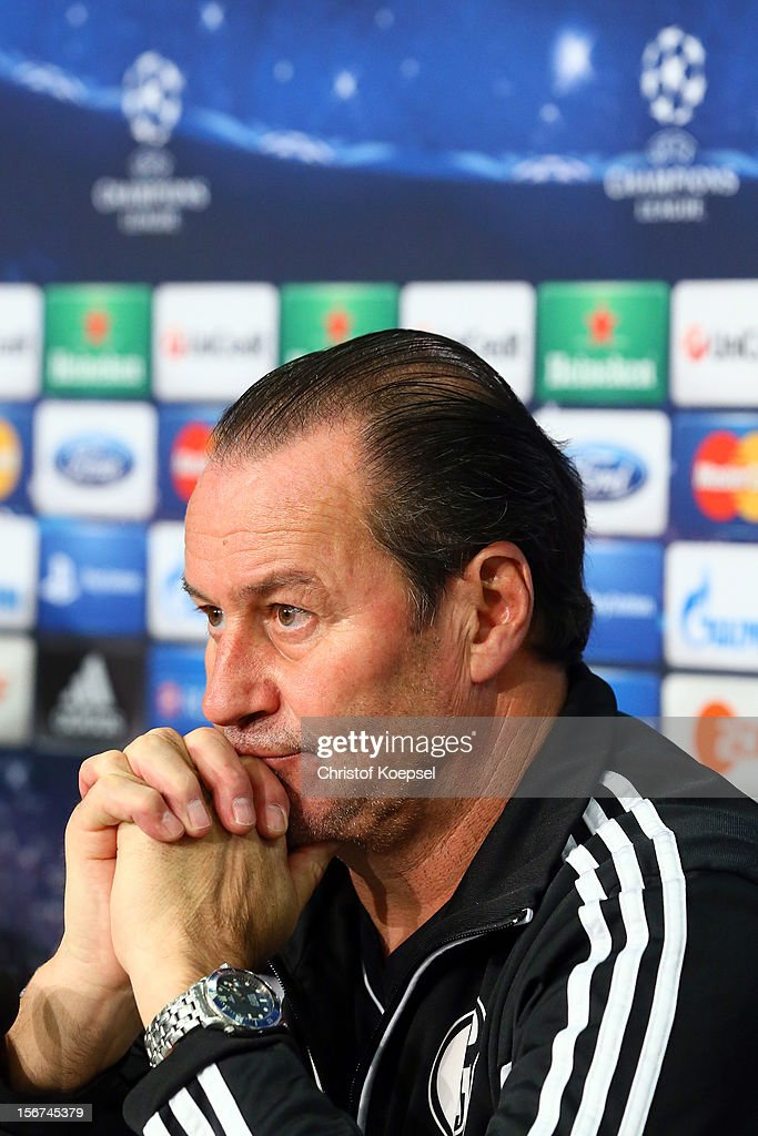 Head coach Huub Stevens of Schalke 04 attends the press conference at Veltins Arena ahead of the UEFA Champions League group B match between FC Schalke 04 and Olympiakos Piraeus on November 21, 2012 in Gelsenkirchen, Germany.