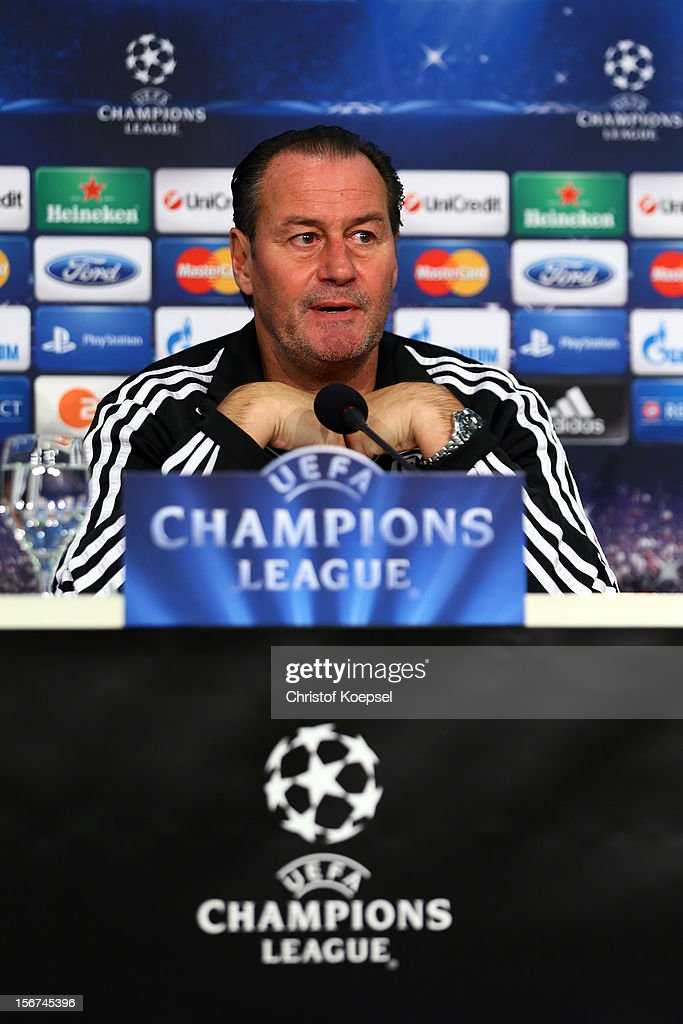Head coach <a gi-track='captionPersonalityLinkClicked' href=/galleries/search?phrase=Huub+Stevens&family=editorial&specificpeople=2380209 ng-click='$event.stopPropagation()'>Huub Stevens</a> of Schalke 04 attends the press conference at Veltins Arena ahead of the UEFA Champions League group B match between FC Schalke 04 and Olympiakos Piraeus on November 21, 2012 in Gelsenkirchen, Germany.