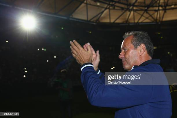 Head coach Huub Stevens of Schalke does a lap of honour after the 20 years of Eurofighter match between Eurofighter and Friends and Euro All Stars at...