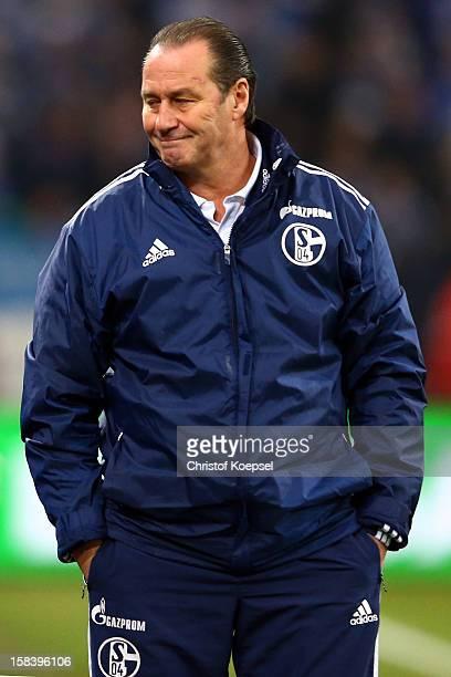 Head coach Huub Stevens of Schalke looks dejected during the Bundesliga match between FC Schalke 04 and SC Freiburg at VeltinsArena on December 15...