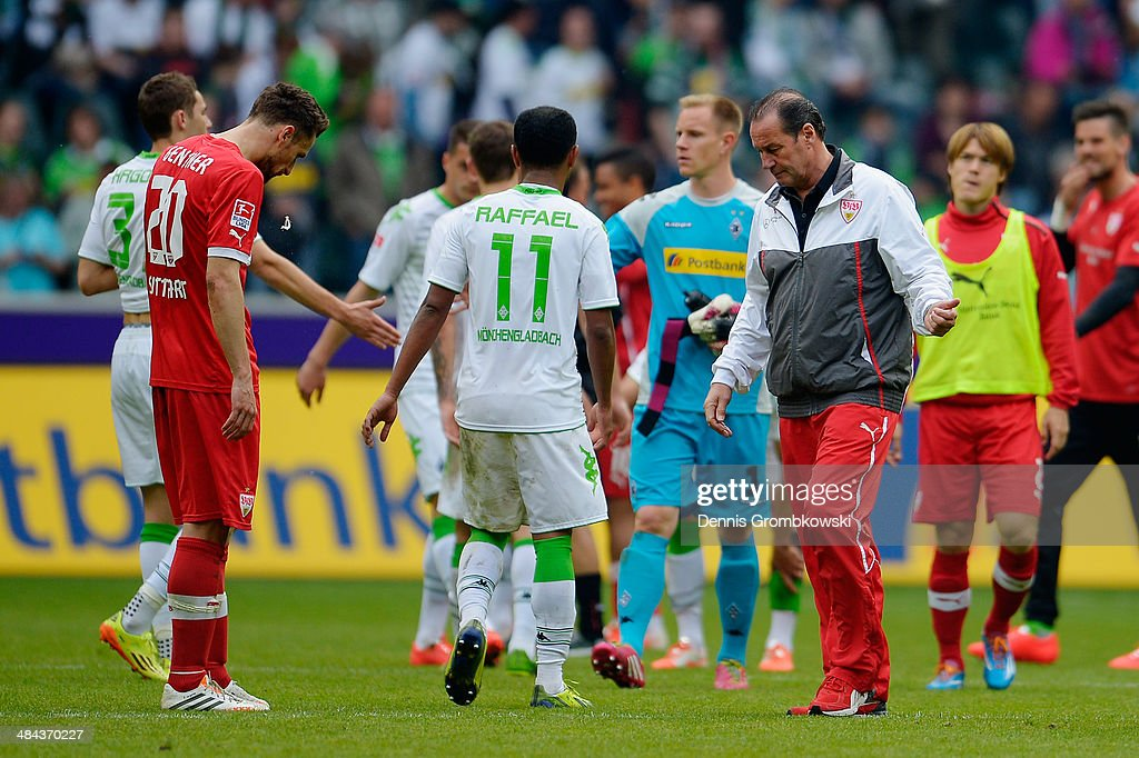 Head coach <a gi-track='captionPersonalityLinkClicked' href=/galleries/search?phrase=Huub+Stevens&family=editorial&specificpeople=2380209 ng-click='$event.stopPropagation()'>Huub Stevens</a> of VfB Stuttgart reacts after the Bundesliga match between Borussia Moenchengladbach and VfB Stuttgart at Borussia-Park on April 12, 2014 in Moenchengladbach, Germany.