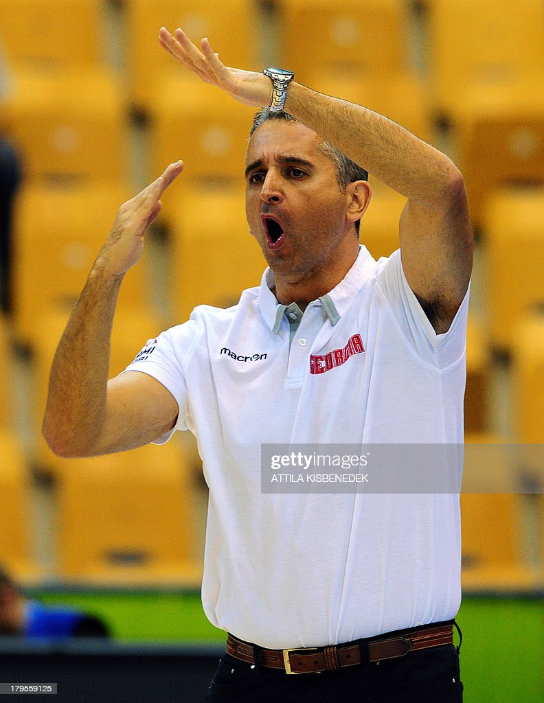 Head coach Igor Kokoskov of Georgia directs his team against Croatia during the group C qualification match to EuroBasket 2013 Championships between their teams in Celje on September 5, 2013.