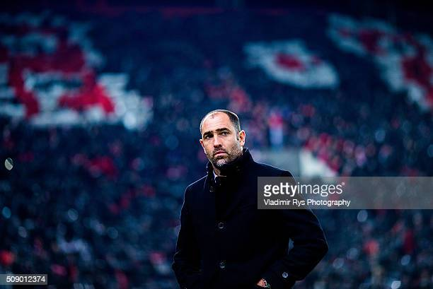 PAOK head coach Igor Tudor is pictured during the Superleague Greece match between Olympiacos Piraeus and PAOK at Karaiskaki stadium on February 7...