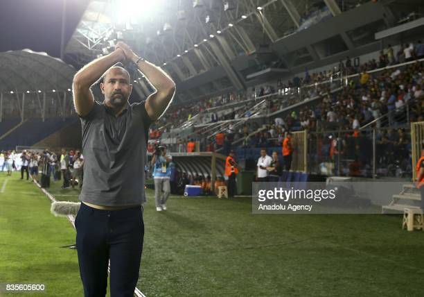 Head coach Igor Tudor of Galatasaray greets supporters ahead of Turkish Super Lig soccer match between Osmanlispor and Galatasaray at the Osmanli...