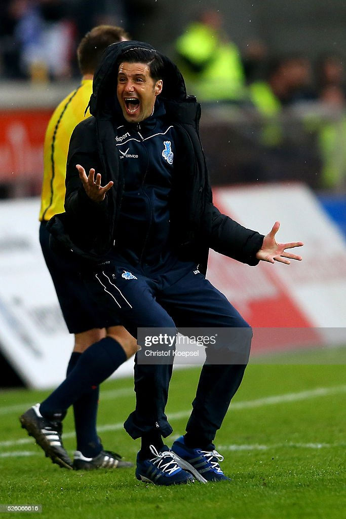 Head coach Ilia Gruev of Duisburg celebrates after the 2. Bundesliga match between MSV Duisburg and Fortuna Duesseldorf at Schauinsland-Reisen-Arena on April 29, 2016 in Duisburg, Germany. The match between Duisburg and Duesseldorf ended 2-1.