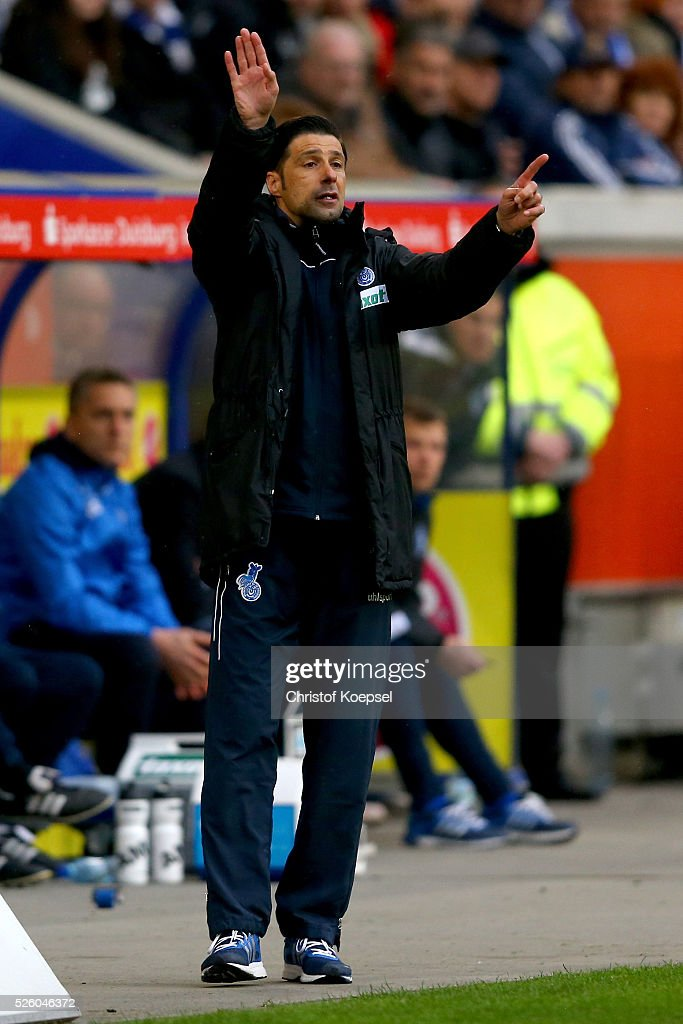 Head coach Ilia Gruev of Duisburg issues instructions during the 2. Bundesliga match between MSV Duisburg and Fortuna Duesseldorf at Schauinsland-Reisen-Arena on April 29, 2016 in Duisburg, Germany.