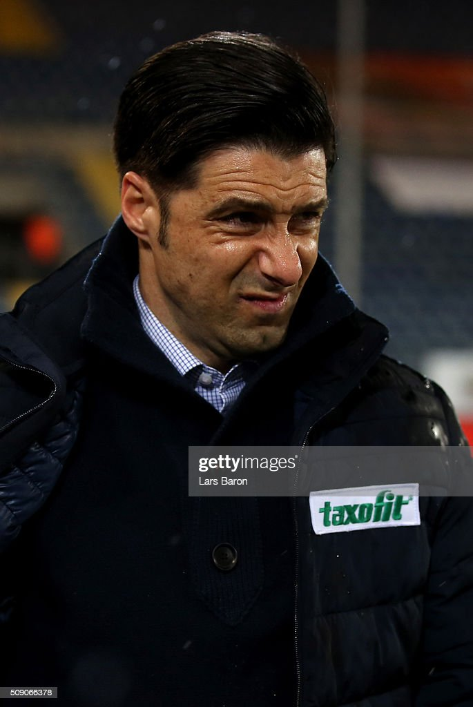 Head coach Ilia Gruev of Duisburg looks on prior to the Second Bundesliga match between Arminia Bielefeld and MSV Duisburg at Schueco Arena on February 8, 2016 in Bielefeld, Germany.