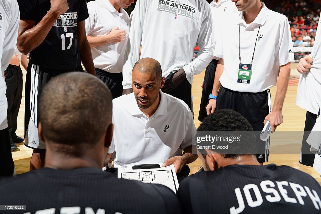 Head Coach Ime Udoka of the San Antonio Spurs gives direction against the Atlanta Hawks during NBA Summer League on July 15, 2013 at the Cox Pavilion in Las Vegas, Nevada.