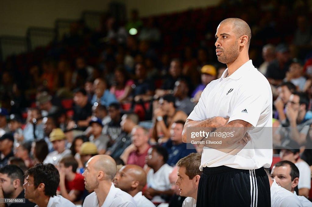 Head Coach Ime Udoka of the San Antonio Spurs looks on against the Atlanta Hawks during NBA Summer League on July 15, 2013 at the Cox Pavilion in Las Vegas, Nevada.