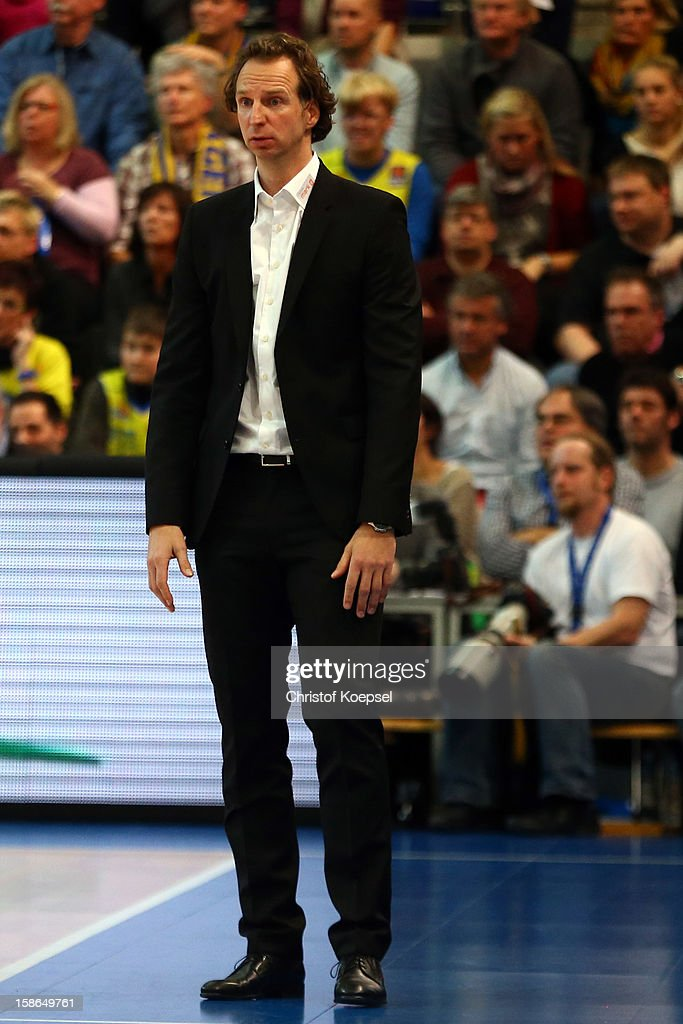 Head coach Ingo Freyer of Phoenix Hagen looks dejected during the Beko BBL Bundesliga match between Phoenix Hagen and FC Bayern Muenchen at ENERVIE Arena on December 22, 2011 in Hagen, Germany.