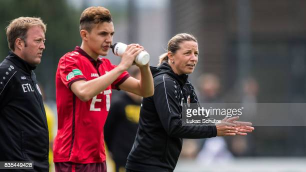 Head Coach Inka Grings gestures during the B Juniors Bundesliga match between Borussia Dortmund and FC Viktoria Koeln on August 19 2017 in Dortmund...