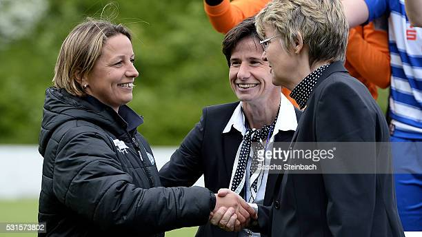 Head coach Inka Grings of Duisburg is honored after winning the 2 Frauen Bundesliga Nord championship at PCCStadion on May 15 2016 in Duisburg Germany