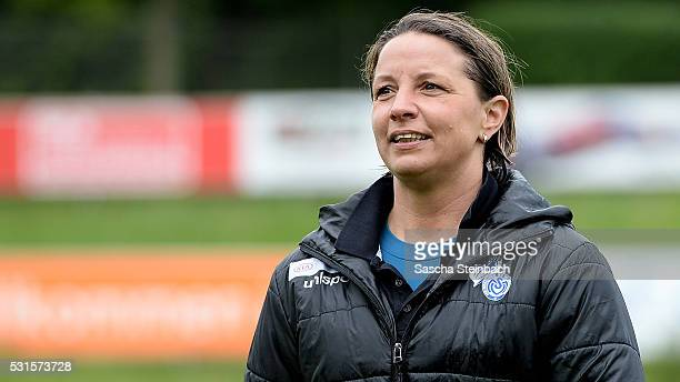 Head coach Inka Grings of Duisburg reacts after winning the 2 Frauen Bundesliga Nord championship at PCCStadion on May 15 2016 in Duisburg Germany