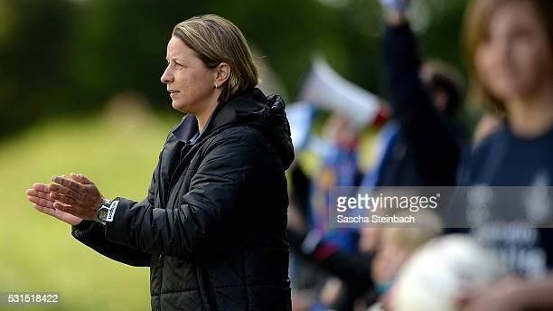 Head coach Inka Grings of Duisburg reacts during the 2 Frauen Bundesliga Nord match between MSV Duisburg and Herforder SV at PCCStadion on May 15...