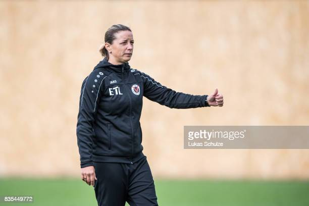 Head Coach Inka Grings of Koeln is seen prior to the B Juniors Bundesliga match between Borussia Dortmund and FC Viktoria Koeln on August 19 2017 in...