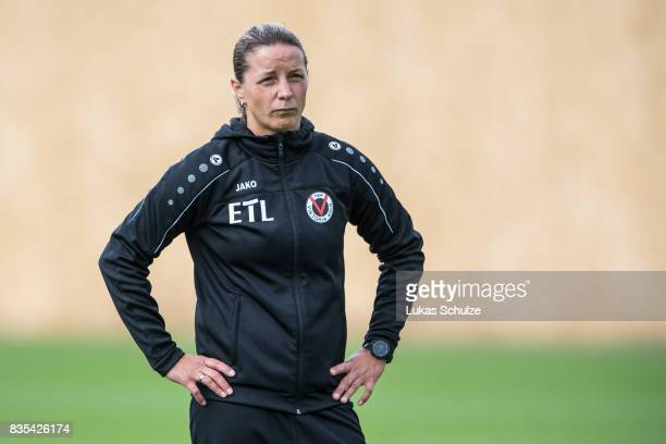 Head Coach Inka Grings of Koeln looks up during the B Juniors Bundesliga match between Borussia Dortmund and FC Viktoria Koeln on August 19 2017 in...