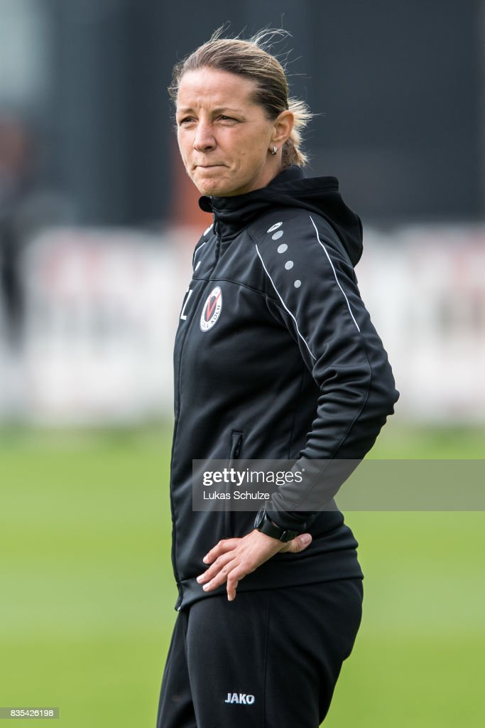 Head Coach Inka Grings of Koeln looks up during the B Juniors Bundesliga match between Borussia Dortmund and FC Viktoria Koeln on August 19, 2017 in Dortmund, Germany.