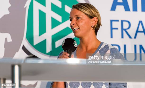 Head coach Inka Grings of MSV Duisburg attends the Allianz Frauen Bundesliga season opening press conference at DFB Headquarter on August 29 2016 in...