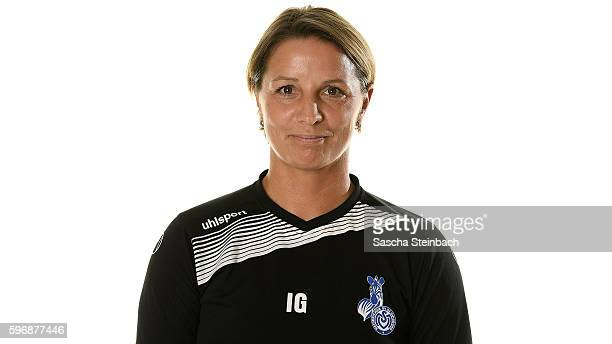 Head coach Inka Grings of MSV Duisburg poses during the Allianz Women's Bundesliga Club Tour on August 24 2016 in Duisburg Germany