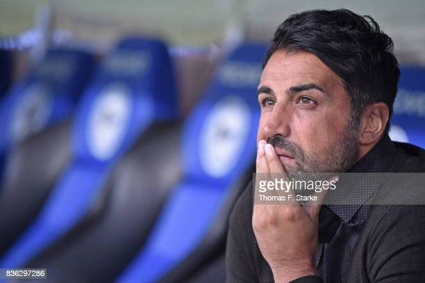 Head coach Ismail Atalan of Bochum looks on prior to the Second Bundesliga match between DSC Arminia Bielefeld and VfL Bochum 1848 at Schueco Arena...