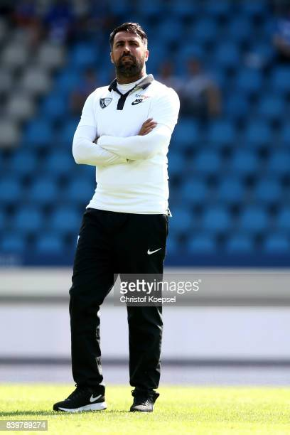 Head coach Ismail Atalan of Bochum looks on prior to the Second Bundesliga match between VfL Bochum 1848 and SG Dynamo Dresden at Vonovia Ruhrstadion...