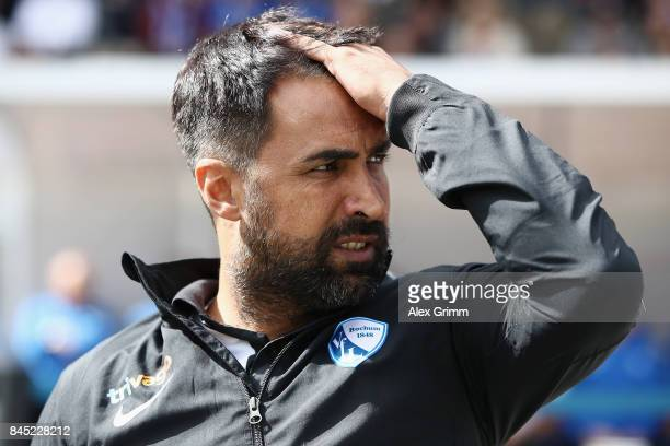Head coach Ismail Atalan of Bochum looks on prior to the Second Bundesliga match between SV Darmstadt 98 and VfL Bochum 1848 at MerckStadion am...