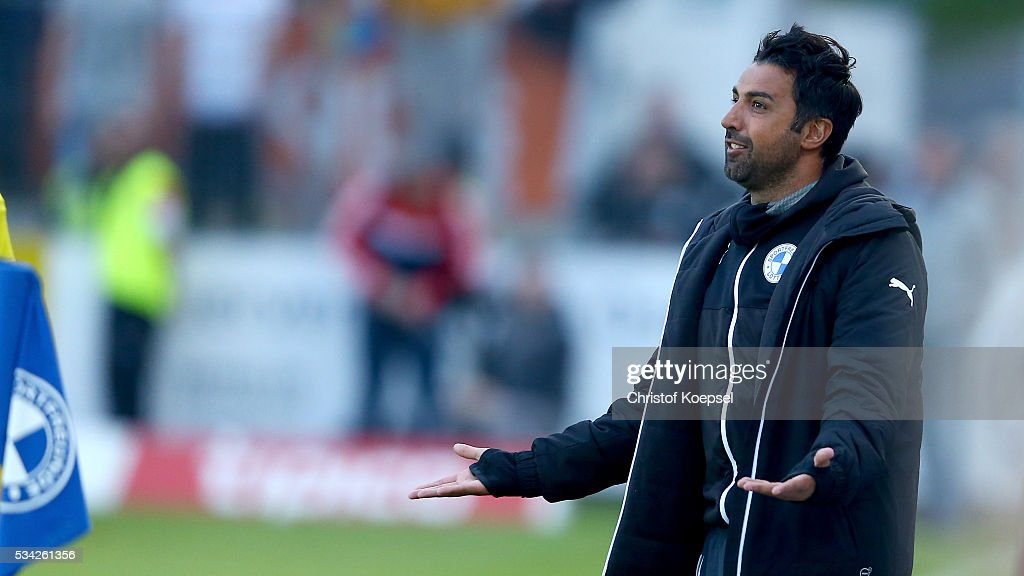 Head coach Ismail Atalan of Sportfreunde Lotte looks thoughtful during the Third League play-off first leg match between SF Lotte and Waldhof Mannheim at Sportpark am Lotter Kreuz on May 25, 2016 in Lotte, Germany. The match between Lotte and Mannheim ended 0-0.