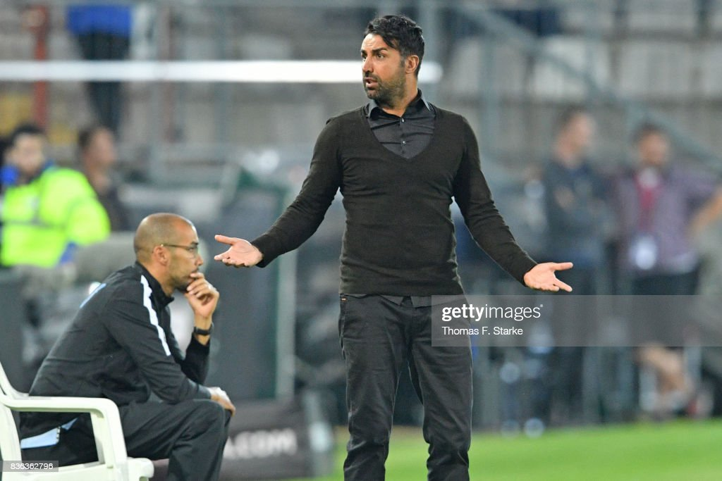 Head coach Ismail Atalan reacts during the Second Bundesliga match between DSC Arminia Bielefeld and VfL Bochum 1848 at Schueco Arena on August 21, 2017 in Bielefeld, Germany.