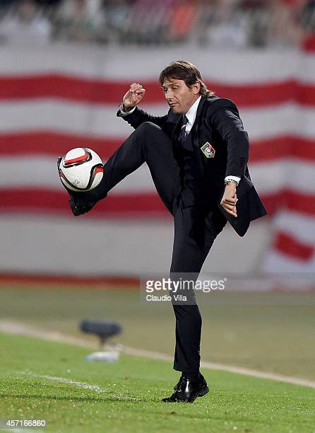 Head coach Italy Antonio Conte during the EURO 2016 Group H Qualifier match between Malta and Italy at Ta' Qali Stadium on October 13 2014 in...