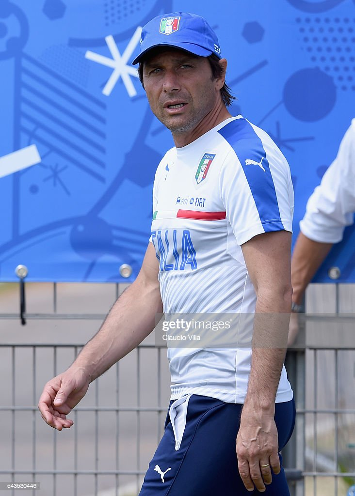 Head coach Italy <a gi-track='captionPersonalityLinkClicked' href=/galleries/search?phrase=Antonio+Conte&family=editorial&specificpeople=2379002 ng-click='$event.stopPropagation()'>Antonio Conte</a> looks on prior to the training session at 'Bernard Gasset' Training Center on June 29, 2016 in Montpellier, France.