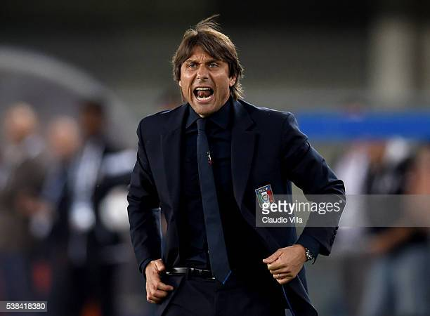 Head coach Italy Antonio Conte reacts during the international friendly match between Italy and Finland on June 6 2016 in Verona Italy