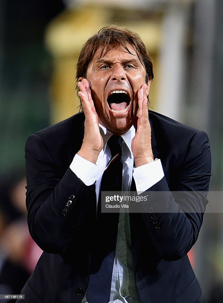 Head coach Italy <a gi-track='captionPersonalityLinkClicked' href=/galleries/search?phrase=Antonio+Conte&family=editorial&specificpeople=2379002 ng-click='$event.stopPropagation()'>Antonio Conte</a> reacts during the UEFA EURO 2016 Qualifier match between Italy and Bulgaria on September 6, 2015 in Palermo, Italy.