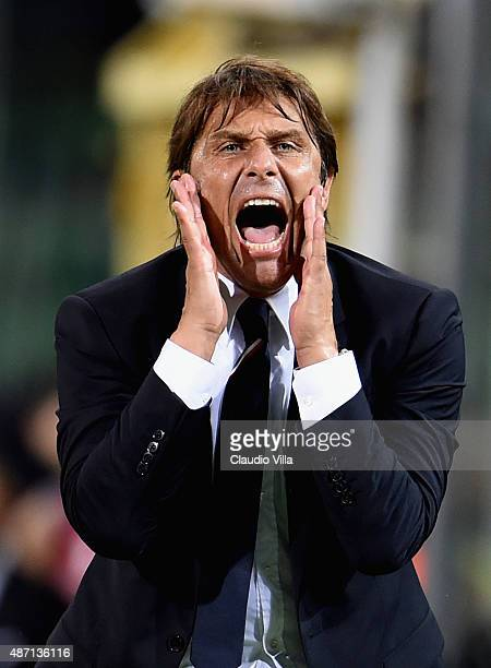 Head coach Italy Antonio Conte reacts during the UEFA EURO 2016 Qualifier match between Italy and Bulgaria on September 6 2015 in Palermo Italy