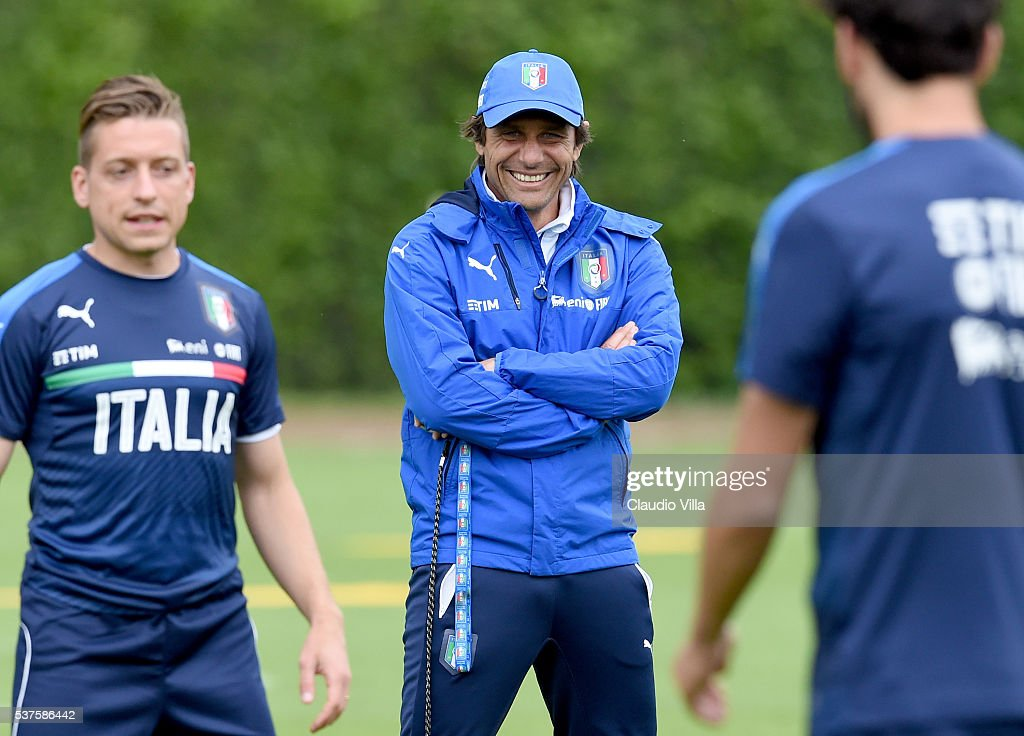 Head coach Italy <a gi-track='captionPersonalityLinkClicked' href=/galleries/search?phrase=Antonio+Conte&family=editorial&specificpeople=2379002 ng-click='$event.stopPropagation()'>Antonio Conte</a> smiles during the Italy training session at the club's training ground at Coverciano on June 02, 2016 in Florence, Italy.