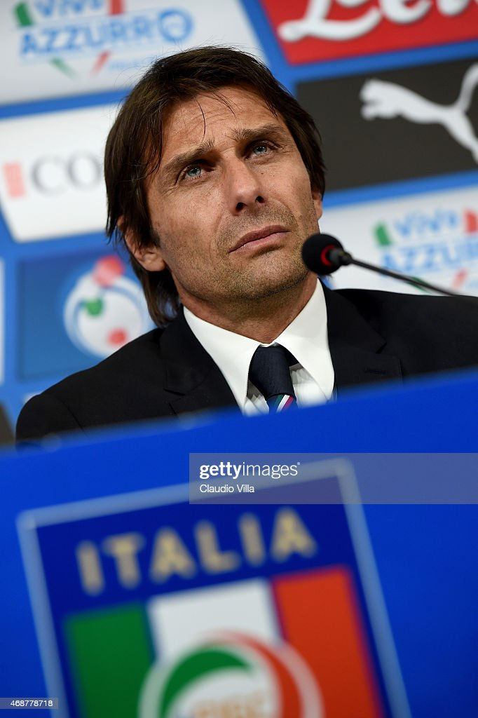 Head coach Italy Antonio Conte speaks to the media during a press conference at the end of the international friendly match between Italy and England at Juventus Arena on March 31, 2015 in Turin, Italy.