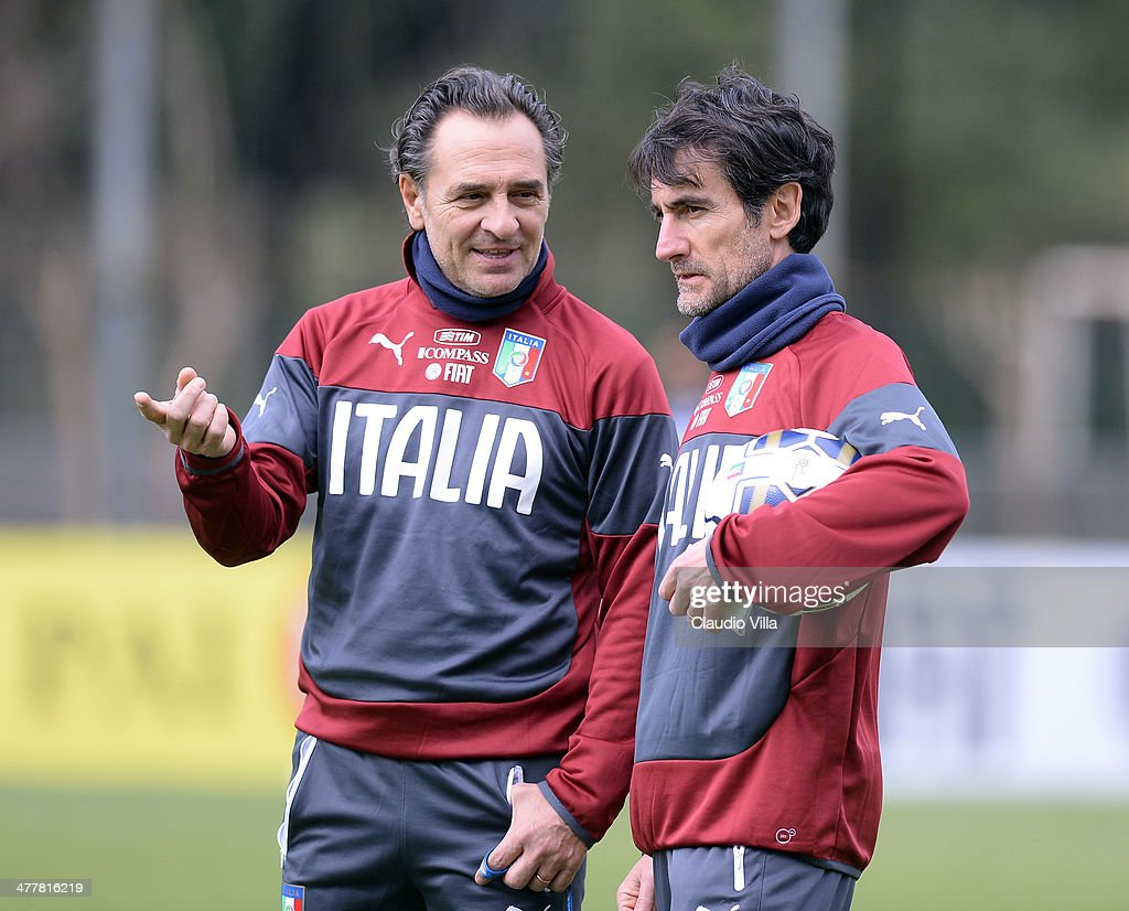 Head coach Italy <a gi-track='captionPersonalityLinkClicked' href=/galleries/search?phrase=Cesare+Prandelli&family=editorial&specificpeople=742442 ng-click='$event.stopPropagation()'>Cesare Prandelli</a> (L) and assistant coach Gabriele Pin during Italy Training Camp - Day 2 at Acqua Acetosa on March 11, 2014 in Rome, Italy.
