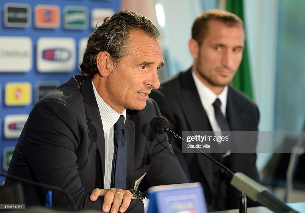 Head coach Italy Cesare Prandelli (L) and Giorgio Chiellini attends a press conference, on the eve of their FIFA World Cup qualifier against Bulgaria, at Stadio Renzo Barbera on September 5, 2013 in Palermo, Italy.