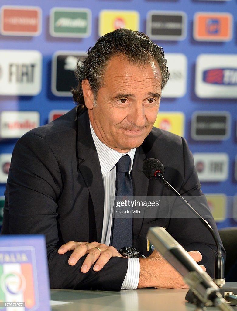 Head coach Italy Cesare Prandelli attends a press conference, on the eve of their FIFA World Cup qualifier against Bulgaria, at Stadio Renzo Barbera on September 5, 2013 in Palermo, Italy.