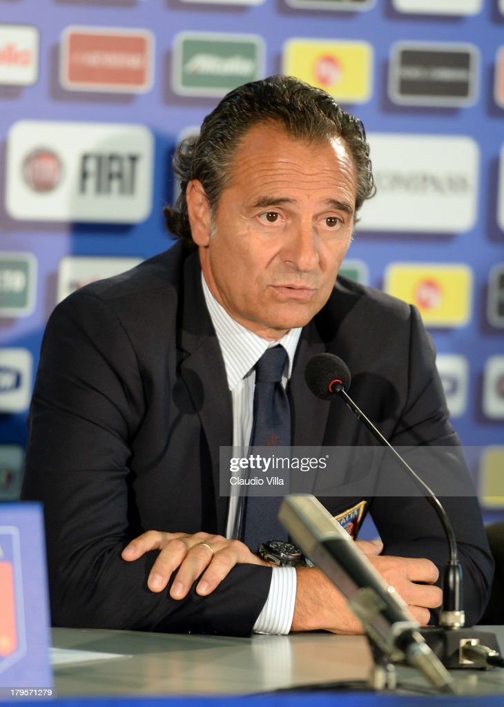 Head coach Italy <a gi-track='captionPersonalityLinkClicked' href=/galleries/search?phrase=Cesare+Prandelli&family=editorial&specificpeople=742442 ng-click='$event.stopPropagation()'>Cesare Prandelli</a> attends a press conference, on the eve of their FIFA World Cup qualifier against Bulgaria, at Stadio Renzo Barbera on September 5, 2013 in Palermo, Italy.