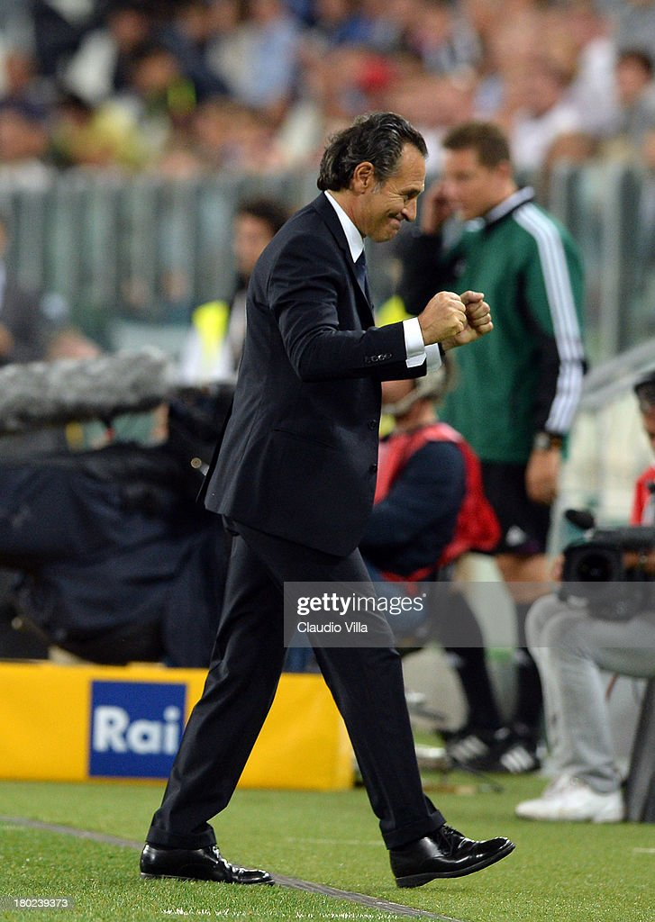 Head coach Italy <a gi-track='captionPersonalityLinkClicked' href=/galleries/search?phrase=Cesare+Prandelli&family=editorial&specificpeople=742442 ng-click='$event.stopPropagation()'>Cesare Prandelli</a> celebrates victory at the end of the the FIFA 2014 World Cup Qualifier group B match between Italy and Czech Republic at Juventus Arena on September 10, 2013 in Turin, Italy.
